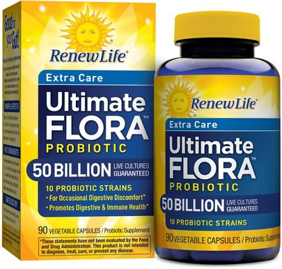 Suplementos, Probióticos, Probióticos Estabilizados Renew Life, Extra Care, Ultimate Flora Probiotic, 50 Billion, 90 Vegetable Capsules