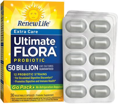 Suplementos, Probióticos, Probióticos Estabilizados Renew Life, Extra Care, Ultimate Flora Probiotic, 50 Billion Live Cultures, 30 Vegetable Capsules