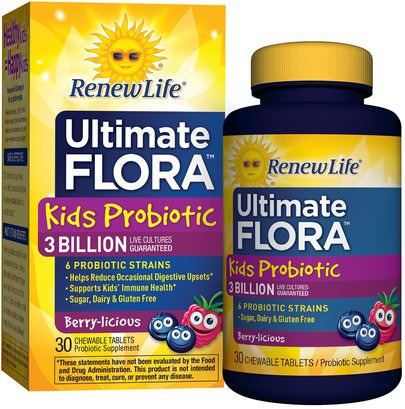 Suplementos, Probióticos, Probióticos Infantiles, Probióticos Estabilizados Renew Life, Kids Probiotic, Ultimate Flora, Berry-licious, 3 Billion Live Cultures, 30 Chewable Tablets