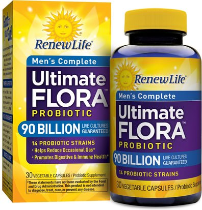 Suplementos, Probióticos, Probióticos Estabilizados Renew Life, Mens Complete, Ultimate Flora Probiotic, 90 Billion Live Cultures, 30 Vegetable Capsules
