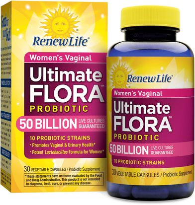 Salud, Mujeres, Suplementos, Probióticos Renew Life, Womens Vaginal, Ultimate Flora Probiotic, 50 Billion Live Cultures, 30 Vegetable Capsules