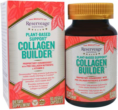 Salud, Hueso, Osteoporosis, Colágeno, Piel ReserveAge Nutrition, Collagen Builder, Plant-Based Support, 60 Veggie Caps