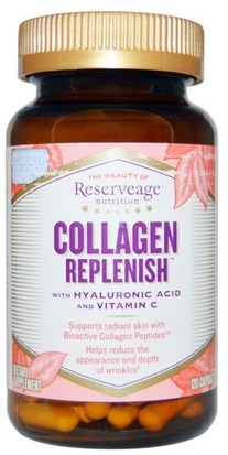 Salud, Hueso, Osteoporosis, Anti Envejecimiento, Colágeno ReserveAge Nutrition, Collagen Replenish, 120 Capsules