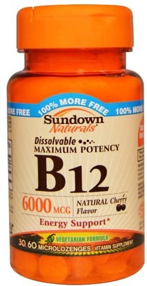Vitaminas, Vitamina B, Vitamina B12, Vitamina B12 - Cianocobalamina Sundown Naturals, B-12, Maximum Potency, Natural Cherry Flavor, 6000 mcg, 60 Microlozenges