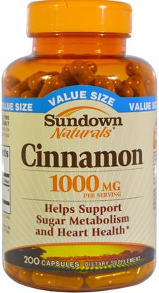 Hierbas, Extracto De Canela Sundown Naturals, Cinnamon, 1000 mg, 200 Capsules