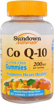 Productos Sensibles Al Calor, Suplementos, Gomitas Sundown Naturals, Co Q-10, 200 mg, Peach Mango Flavor, 50 Gummies