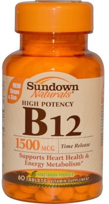 Vitaminas, Vitamina B, Vitamina B12, Vitamina B12 - Cianocobalamina Sundown Naturals, B-12, High Potency, Time Release, 1500 mcg, 60 Tablets