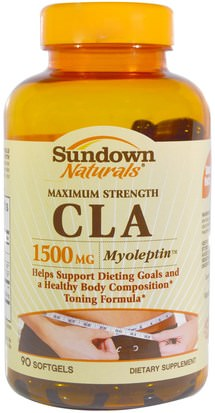 Pérdida De Peso, Dieta, Cla (Ácido Linoleico Conjugado) Sundown Naturals, Maximum Strength CLA, 1500 mg, 90 Softgels