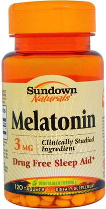 Suplementos, Melatonina 3 Mg Sundown Naturals, Melatonin, 3 mg, 120 Tablets