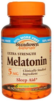 Suplementos, Melatonina 5 Mg Sundown Naturals, Melatonin, 5 mg, 90 Tablets