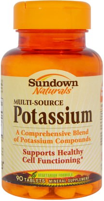 Suplementos, Minerales, Potasio Sundown Naturals, Multi-Source Potassium, 90 Tablets