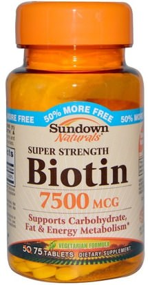 Vitaminas, Vitamina B, Biotina Sundown Naturals, Super Strength Biotin, 7500 mcg, 75 Tablets