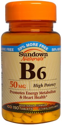 Vitaminas, Vitamina B, Vitamina B6 - Piridoxina Sundown Naturals, B6, High Potency, 50 mg, 150 Tablets