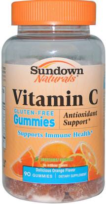 Productos Sensibles Al Calor, Vitaminas, Gomitas De Vitamina C Sundown Naturals, Vitamin C Gummies, Gluten-Free, Orange Flavor, 90 Gummies