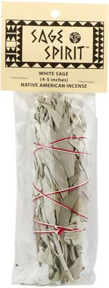 Hierbas, Salvia, Aceites Esenciales De Aromaterapia, Incienso Sage Spirit, Native American Incense, White Sage, Small (4-5 Inches), 1 Smudge Wand