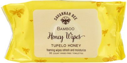 Baño, Belleza, Salud Savannah Bee Company Inc, Bamboo Honey Wipes, Tupelo Honey, 30 Towelettes