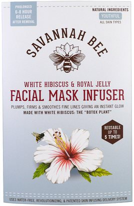Belleza, Máscaras Faciales, Máscaras De Láminas Savannah Bee Company Inc, Facial Mask Infuser, White Hibiscus & Royal Jelly, 1 Resusable Mask