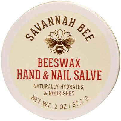 Baño, Belleza, Cremas Para Manos Savannah Bee Company Inc, Organic, Beeswax Hand and Nail Salve, 2 oz (57.7 g)