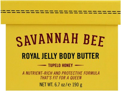 Belleza, Salud, Piel Savannah Bee Company Inc, Royal Jelly Body Butter, Tupelo Honey, 6.7 oz (190 g)