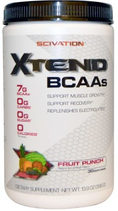 Deportes, Entrenamiento, Deporte Scivation, Xtend, BCAAs, Fruit Punch, 13.9 oz (396 g)