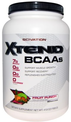 Deportes, Entrenamiento, Deporte Scivation, Xtend, BCAAs, Fruit Punch, 41.9 oz (1188 g)