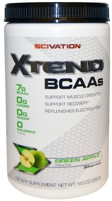 Deportes, Deporte, Musculatura Scivation, Xtend, BCAAs, Green Apple, 14.0 oz (398 g)