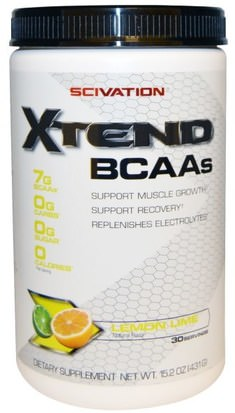 Deportes, Entrenamiento, Deporte Scivation, Xtend, BCAAs, Lemon Lime, 15.2 oz (431 g)