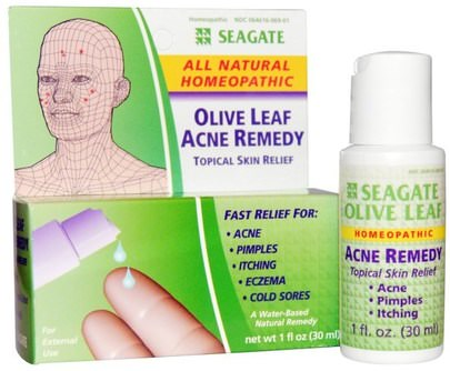 Suplementos, Homeopatía Mujeres Seagate, Olive Leaf Acne Remedy, 1 fl oz (30 ml)