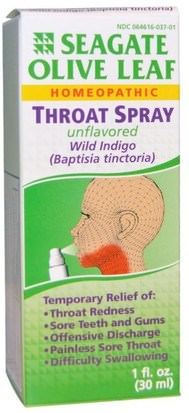 Suplementos, Homeopatía, Tos, Resfriado Y Gripe Seagate, Olive Leaf Throat Spray, Unflavored, 1 fl oz (30 ml)