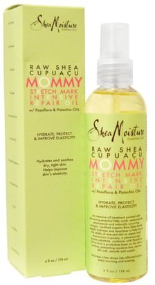 Salud, Piel, Cicatrices De Estrías Shea Moisture, Raw Shea Cupuacu, Mommy Stretch Mark Intensive Repair Oil, 4 fl oz (118 ml)