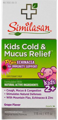 Suplementos, Homeopatía, Tos Fría De La Gripe Similasan, Kids Cold & Mucus Relief, with Echinacea, Grape, 4 fl oz (118 ml)