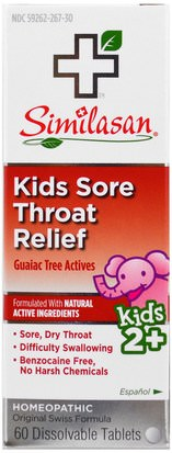 Suplementos, Homeopatía Similasan, Kids Sore Throat Relief, Guaiac Tree Actives, 2+, 60 Dissolvable Tablets