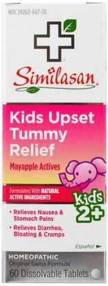 Suplementos, Homeopatía, Salud De Los Niños Similasan, Kids Upset Tummy Relief, Mayappl Actives, Kids Ages 2+, 60 Dissolvable Tablets