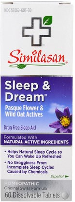 Suplementos, Homeopatía, Sueño Similasan, Sleep & Dream, 60 Dissolvable Tablets