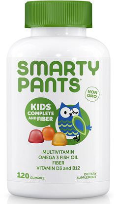 Vitaminas, Multivitaminas, Niños Multivitaminas SmartyPants, Kids Complete and Fiber, 120 Gummies