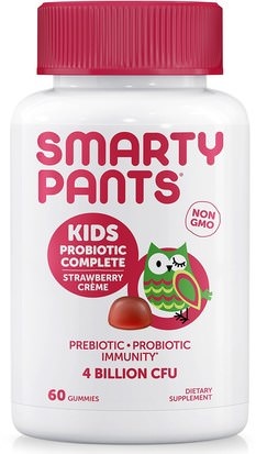 Suplementos, Gominolas, Probióticos, Probióticos Infantiles SmartyPants, Kids Probiotic Complete, Strawberry Creme, 4 Billion CFU, 60 Gummies