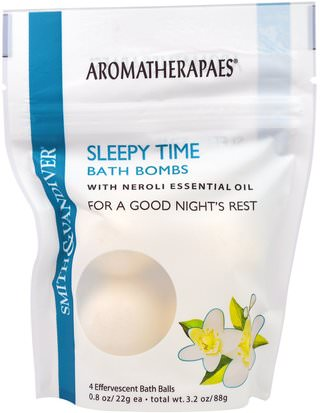 Salud, Estado De Ánimo, Baño, Belleza Smith & Vandiver, Sleepy Time Bath Bombs with Neroli Essential Oil, 4 Effervescent Bath Balls, 0.8 oz (22 g) Each