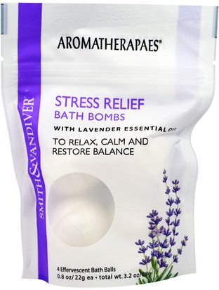 Salud, Anti Estrés, Estado De Ánimo Smith & Vandiver, Stress Relief Bath Bombs with Lavender Essential, 4 Effervescent Bath Balls, 0.8 oz (22 g) Each