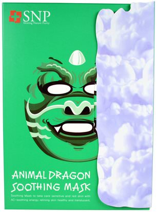Baño, Belleza, Máscaras Faciales, Máscaras De Láminas SNP, Animal Dragon Soothing Mask, 10 Masks x (25 ml) Each