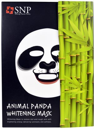 Baño, Belleza, Máscaras Faciales, Máscaras De Láminas SNP, Animal Panda Whitening Mask, 10 Masks x (25 ml) Each