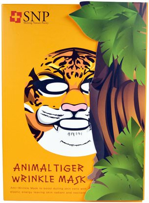 Baño, Belleza, Máscaras Faciales, Máscaras De Láminas SNP, Animal Tiger Wrinkle Mask, 10 Masks x (25 ml) Each