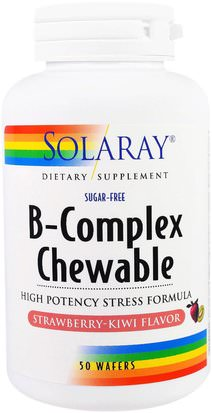Vitaminas, Complejo De Vitamina B Solaray, B-Complex Chewable, Strawberry-Kiwi Flavor, Sugar-Free, 50 Wafers