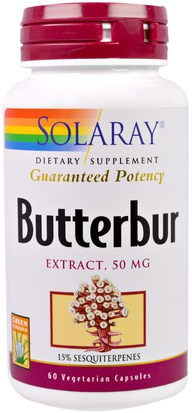 Salud, Alergias, Petasita Solaray, Butterbur, Extract, 50 mg, 60 Veggie Caps