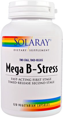 Vitaminas, Complejo De Vitamina B Solaray, Mega B-Stress, Two-Stage, Timed-Release, 120 Vegetarian Capsules