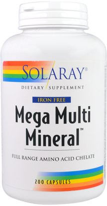 Suplementos, Minerales, Minerales Múltiples Solaray, Mega Multi Mineral, Iron Free, 200 Capsules