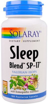 Suplementos, Dormir Solaray, Sleep Blend SP-17, Valerian-Hops, 100 Veggie Caps