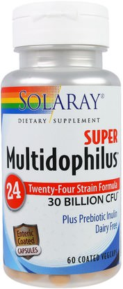 Suplementos, Probióticos Solaray, Super Multidophilus 24, 30 Billion CFU, 60 Coated Vegcaps