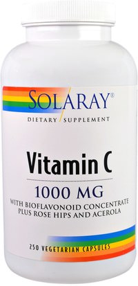 Vitaminas, Vitamina C Solaray, Vitamin C, With Bioflavonoid Concentrate Plus Rose Hips and Acerola, 1000 mg, 250 Vegetarian Capsules