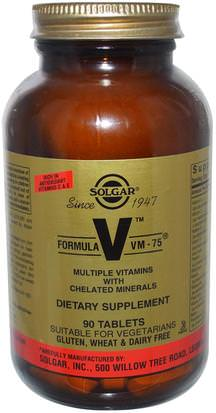 Vitaminas, Multivitaminas Solgar, Formula V, VM-75, Multiple Vitamins with Chelated Minerals, 90 Tablets