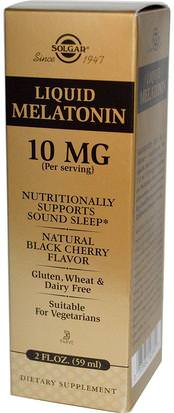 Suplementos, Melatonina Líquida Solgar, Liquid Melatonin, Natural Black Cherry Flavor, 10 mg, 2 fl oz (59 ml)